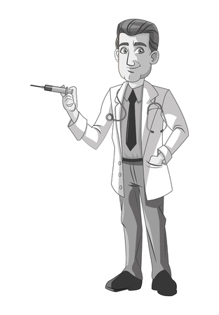 mentors: doctor man cartoon with uniform icon. medical and health care theme. Black white and isolated design. Vector illustration Illustration