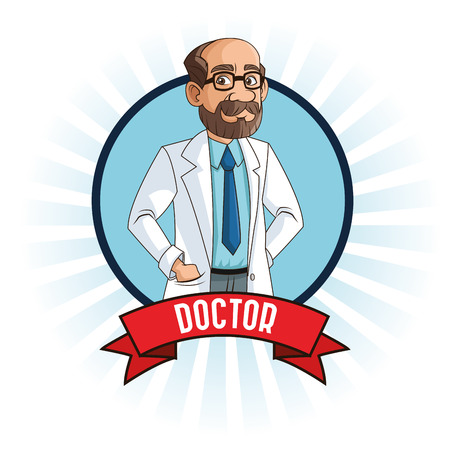 mentors: doctor man cartoon with uniform inside a seal stamp with ribbon icon. medical and health care theme. Colorful and isolated design. Vector illustration