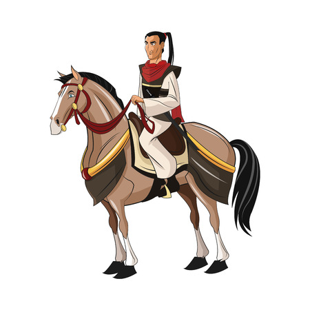 bushido: Samurai man cartoon on horse with uniform icon. comic and japan culture. Colorful and isolated design. Vector illustration