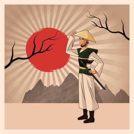 swordsman: Samurai man cartoon with uniform icon. comic and japan culture. Colorful design. Striped background. Vector illustration Illustration