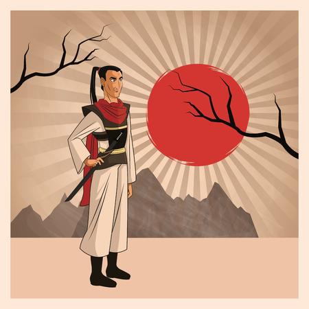 Samurai man cartoon with uniform icon. comic and japan culture. Colorful design. Striped background. Vector illustration Illustration