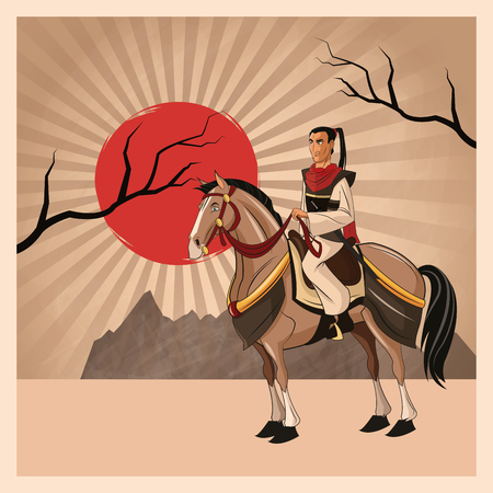 swordsman: Samurai man cartoon on horse with uniform icon. comic and japan culture. Colorful design. Striped background. Vector illustration