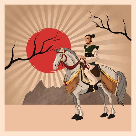 bushido: Samurai man cartoon on horse with uniform icon. comic and japan culture. Colorful design. Striped background. Vector illustration
