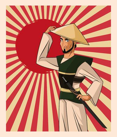 bushido: Samurai man cartoon with uniform icon. comic and japan culture. Colorful design. Striped background. Vector illustration Illustration