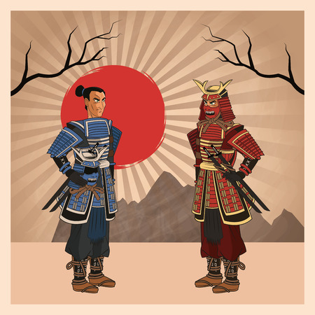 Samurai man cartoon with uniform icon. comic and japan culture. Colorful design. Striped background. Vector illustration Illustration