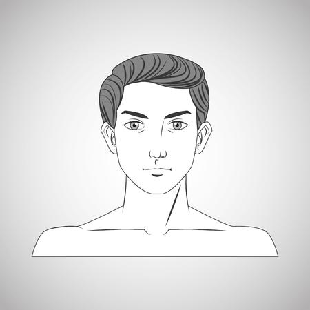 grey hair: man male cartoon head icon. Hair styles theme. Grey and isolated design. Vector illustration