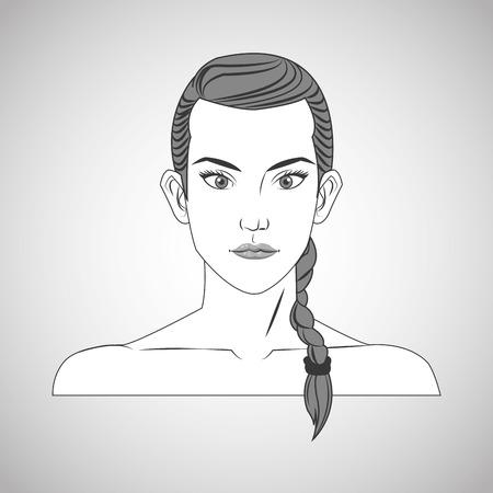 grey hair: woman female cartoon head icon. Hair styles theme. Grey and isolated design. Vector illustration Illustration