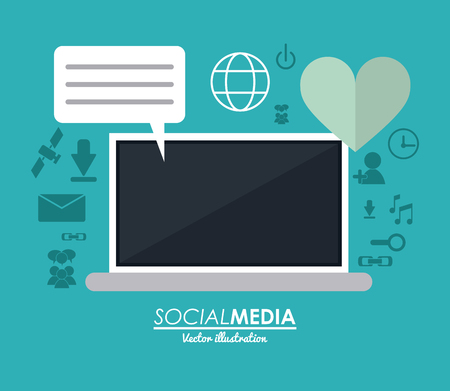 media gadget: laptop gadget heart and bubble icon. Social media network communication and media icon set. Colorful design. Vector illustration Illustration