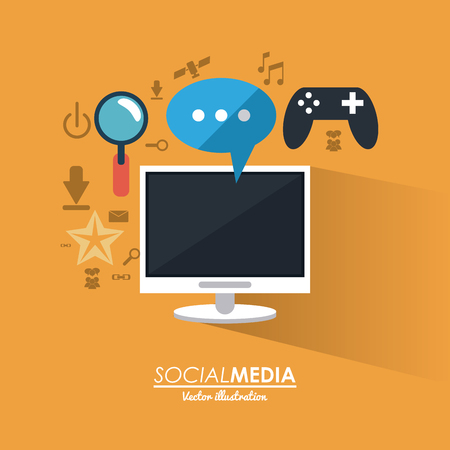 media gadget: computer gadget and bubble icon. Social media network communication and media icon set. Colorful design. Vector illustration