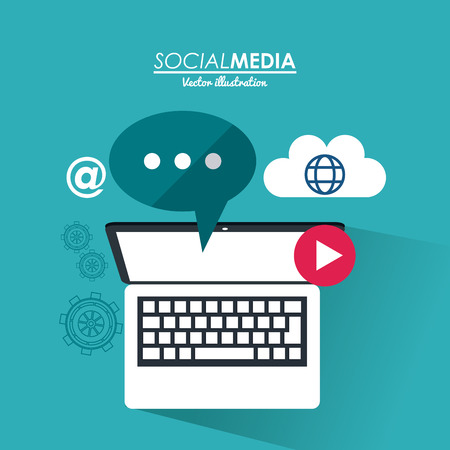 media gadget: laptop gadget and bubble icon. Social media network communication and media icon set. Colorful design. Vector illustration