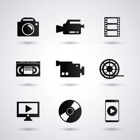 videocamera: videocamera camera smartphone tv cd and play icon. Video movie cinema and media theme. Black and white design. Vector illustration Illustration