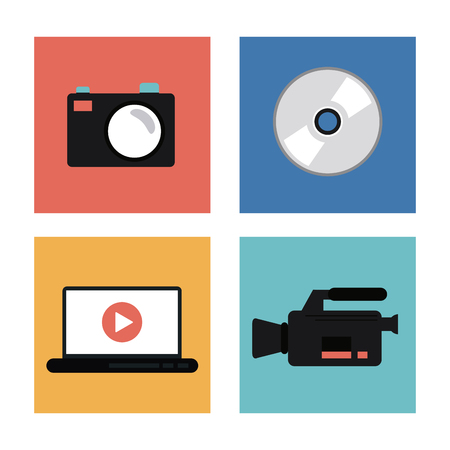 videocamera: videocamera camera laptop play and cd icon. Video movie cinema and media theme. Colorful design. Vector illustration