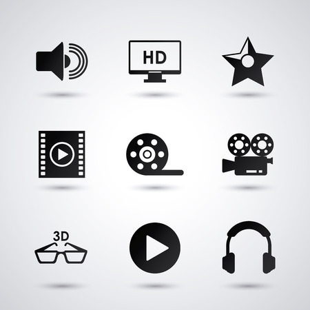 videocamera: videocamera play glasses headphone and tv icon. Video movie cinema and media theme. Black and white design. Vector illustration