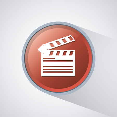 clapboard: clapboard on. Video movie cinema and media theme. Colorful design. Vector illustration