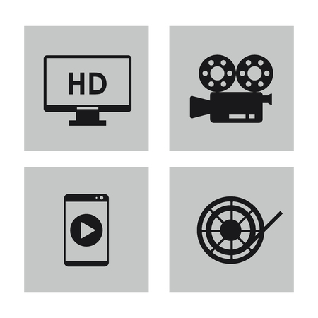 videocamera: videocamera tv smartphone and film reel icon. Video movie cinema and media theme. Black and white design. Vector illustration Illustration