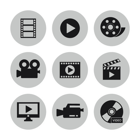 videocamera: videocamera play tv cd clapboard and film icon. Video movie cinema and media theme. Black and white design. Vector illustration Illustration