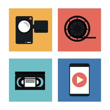 videocamera: videocamera play smartphone and film reel icon. Video movie cinema and media theme. Black and white design. Vector illustration Illustration