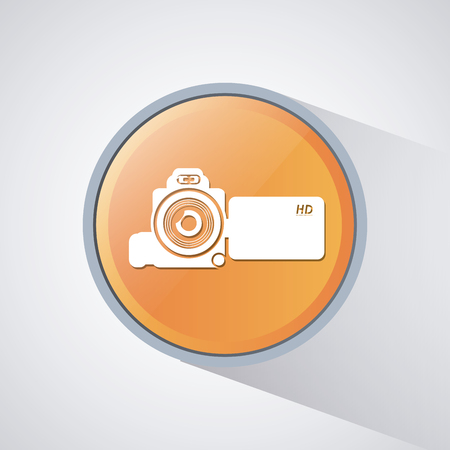 videocamera: videocamera button. Video movie cinema and media theme. Colorful design. Vector illustration