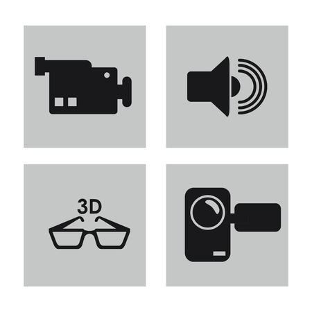 videocamera: videocamera glasses and volume icon. Video movie cinema and media theme. Black and white design. Vector illustration Illustration