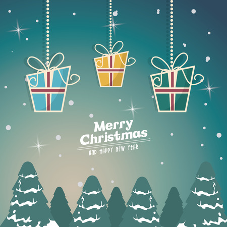 pinetree: gifts and pinetree icon. Merry christmas decoration. Colorful design. Vector illustration