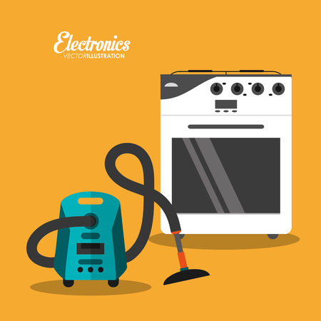 stove and vacuum icon. electronic appliances and supplies for your home theme.Colorful design. Vector illustration
