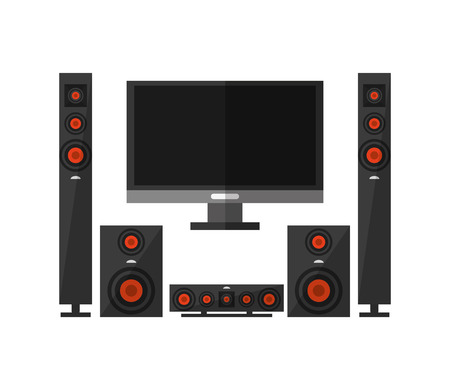 clipart speaker: tv and speakers icon. electronic appliances and supplies for your home theme.Colorful design. Vector illustration Illustration