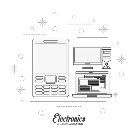 laptop home: cellphone computer and laptop icon. electronic appliances and supplies for your home theme. Black and white design. Vector illustration
