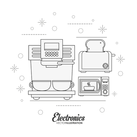 coffee machine toaster and microwave icon. electronic appliances and supplies for your home theme. Black and white design. Vector illustration