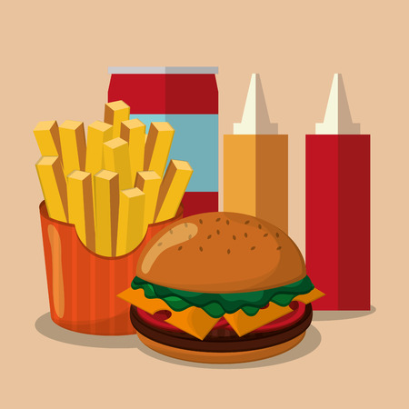 consume: hamburger fries and coke icon. fast food menu american and restaurant theme. Colorful design. Vector illustration