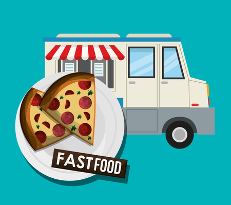 pizza and truck icon. fast food menu american and restaurant theme. Colorful design. Vector illustration