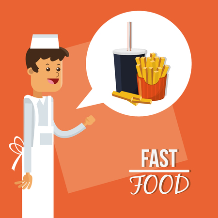 consume: soda french fries and chef icon. fast food menu american and restaurant theme. Colorful design. Vector illustration Illustration