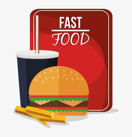hamburger and fries: hamburger fries and coke icon. fast food menu american and restaurant theme. Colorful design. Vector illustration