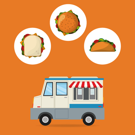hamburger sandwich taco and truck icon. fast food menu american and restaurant theme. Colorful design. Vector illustration Illustration