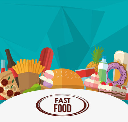 hamburger and fries: hamburger fries pizza sweets drinks icon. fast food menu american and restaurant theme. Colorful design. Vector illustration Illustration