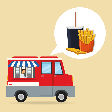 consume: soda french fries and truck icon. fast food menu american and restaurant theme. Colorful design. Vector illustration Illustration