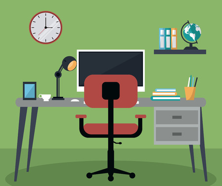 computer chair: Computer chair and table with books and lamp. Work at home and freelance theme. Colorful design. Vector illustration