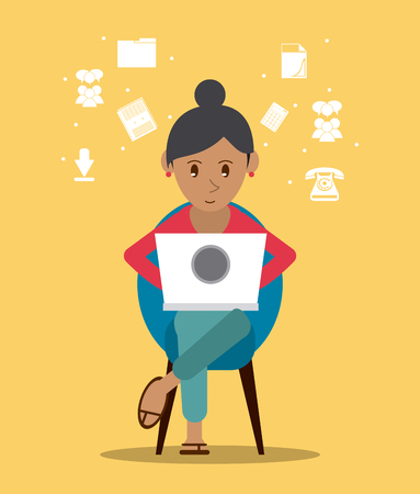 girl using laptop: Cartoon woman sitting with laptop. Work at home and freelance theme. Colorful design. Vector illustration