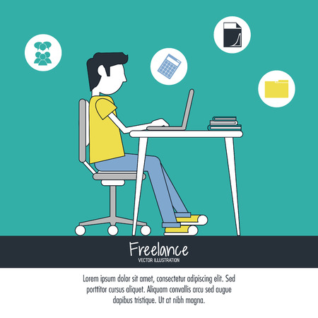 Cartoon man sitting with laptop on table. Work at home and freelance theme. Colorful design. Vector illustration