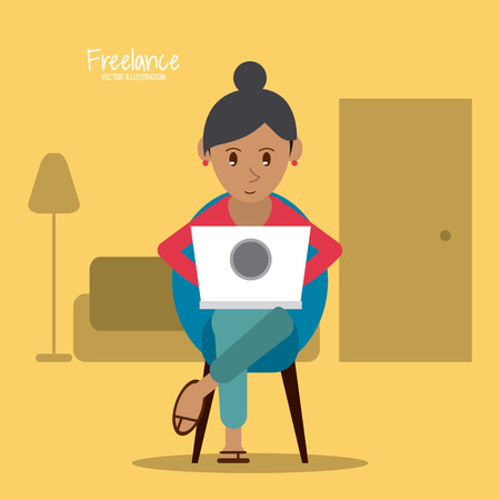 woman laptop: Cartoon woman sitting with laptop. Work at home and freelance theme. Colorful design. Lamp and Chair as background. Vector illustration