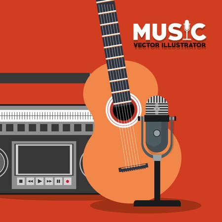 radio microphone: guitar radio microphone instrument icon. Music sound and concert design. Vector illustration