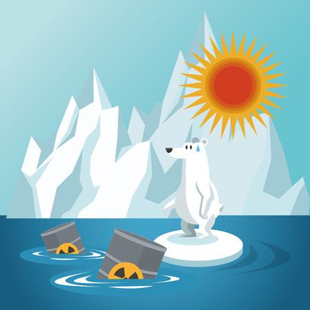 barriles y soportar icono iceberg. El calentamiento global y la naturaleza del entorno de diseño. ilustración vectorial