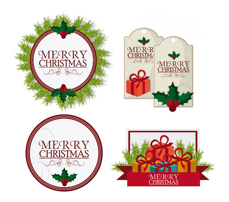 Labels And Frames With Leaves. Merry Christmas Cards Icon. Colorful ...