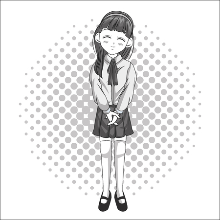 Cartoon and student girl kid. Anime manga and comic theme. Grey design. Pointed background. Vector illustration