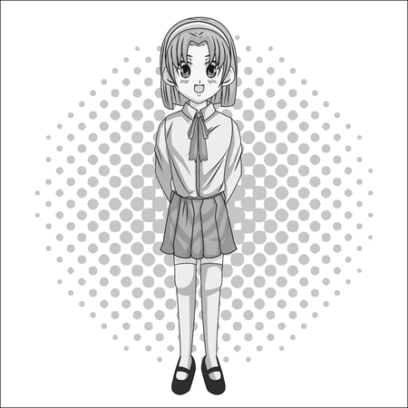 pointed: Cartoon and student girl kid. Anime manga and comic theme. Grey design. Pointed background. Vector illustration
