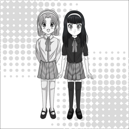 manga: Cartoon and student girl kid. Anime manga and comic theme. Grey design. Pointed background. Vector illustration