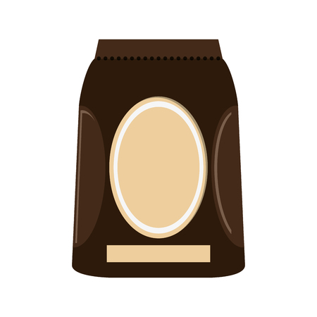 coffee bag: coffee bag label shop drink beverage restaurant icon. Flat and isolated design. Vector illustration