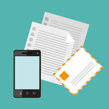 associates: flat design paper documents with envelope and cellphone office related items icon vector illustration Illustration