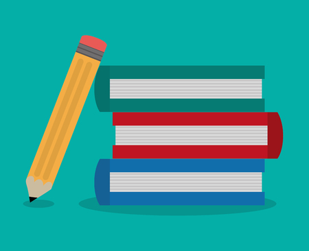 flat design books and pencil office related items icon vector illustration