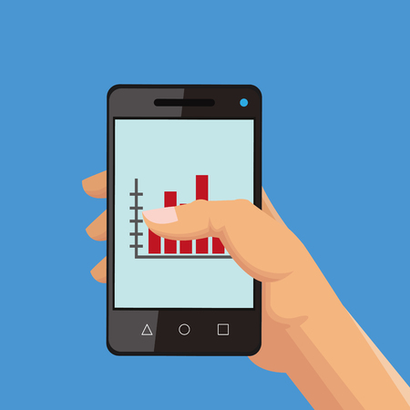 cellphone in hand: flat design hand holding cellphone with graph chart on screen office related items icon vector illustration