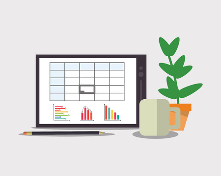 pencil plant: flat design laptop with graph chart on screen pencil mug and plant office related items icon vector illustration